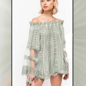 POL Crochet Lace Long Sleeve Sage Tunic Blouse S-L